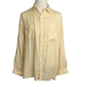 Tianello Men's Yellow Linen Shirt Sz L